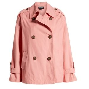 Something Navy Double Breasted Crop Jacket Coral